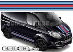 Ford Transit Custom Sport Viper stripes Ford Transit Custom Martini style 'over the top' OTT racing stripe graphics, digitally printed. There are no gaps or clear areas in this Martini graphic, so it can be fitted to any colour van. Transit Custom, Smart Fortwo, Racing Stripes, Sprinter Van, Ford Transit, Vespa, Martini, Outdoors, Graphics
