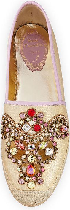 Rene Caovilla Crystal-Embellished Leather Espadrille, Gold