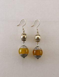 Amber Delight Silver Earrings