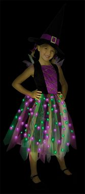 Unique dress has multi-colored fiber optic lights in the skirt, and includes witch hat. 100% polyester. Child small sizes 4-6.                                                                                                                                                                                 More