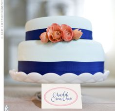 Blue Cake on an Antique Wedding Cake Stand