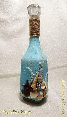 Декор предметов 23 февраля День рождения Свадьба Ассамбляж БУТЫЛОЧКА В МОРСКОМ СТИЛЕ Бутылки стеклянные Материал природный фото 4
