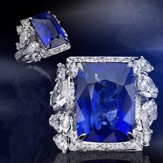 Burma sapphire of 15,57 ct. gubelin certificate -not heated treatment - and diamonds for over 6 carats.