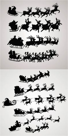 2 sets with 10 vector flying Santa Claus silhouettes for your Christmas designs (cards, posters, illustrations, etc). Christmas Stencils, Christmas Projects, Holiday Crafts, Noel Christmas, Christmas Images, All Things Christmas, Silhouette Cameo Projects, Christmas Printables, Printable Christmas Templates