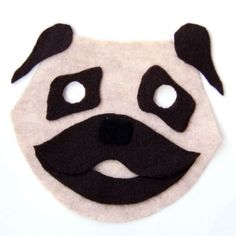 Make your own easy felt pug mask for Halloween or dress up!  Free downloadable pattern pdf