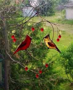 Pair of Cardinals in a heart panel by BirdsAndBugs1 on Etsy, $55.00