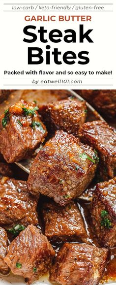Garlic Butter Steak Bites – – Packed with flavor and so easy to make! These garlic butter steak bites are crazy delicious. – by Garlic Butter Steak Bites – – Packed with flavor and so easy to make! These garlic butter steak bites are crazy delicious. Healthy Meats, Healthy Meat Recipes, Meat Recipes For Dinner, Cooking Recipes, Beef Dinner Ideas, Delicious Recipes, Game Recipes, Juice Recipes, Beef Steak Recipes