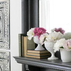 Summer Mantel with Peonies & Milk Glass - Sincerely, Marie Designs Summer Mantel, Peonies Bouquet, Milk Glass, Paint Colors, Bookends, Entryway Tables, Bloom, Living Room, Places