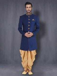 Mens Raw Silk Jade Blue Sherwani Wedding Indo Western With Harem Mens Indian Wear, Indian Groom Wear, Indian Men Fashion, Indian Man, Mens Fashion, Groom Fashion, Fashion Outfits, Wedding Dresses Men Indian, Wedding Dress Men