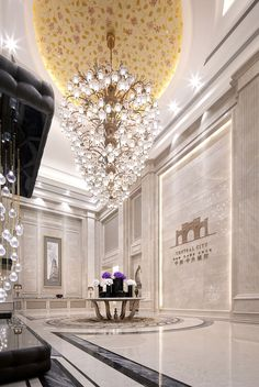 A modern entryway décor is a perfect opportunity to surprise your guests. You can create a sleek design with statement pieces or you prefer a more intimate and Luxury Home Decor, Luxury Interior, Luxury Homes, Luxurious Homes, Chengdu, Grand Hall, Home Design, Hotel Lobby Design, Neoclassical Interior