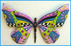 Painted Metal Butterfly Wall Hanging - Outdoor Garden Art - Tropical Decor   -  See more tropical designs at Tropic Accents – www.tropicaccents.com