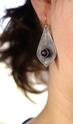 Lotus Petal Earrings: Oxidized Sterling Silver with Star Rubies - sold... by Julie Kujawa