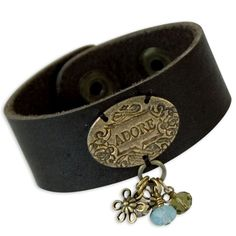 Adore Leather Bracelet - with a handmade metal clay decoration on a ready to embellish leather cuff. Leather Accessories, Leather Jewelry, Metal Jewelry, Leather Bracelets, Geek Jewelry, Bullet Jewelry, Braided Bracelets, Cuff Bracelets, Cowgirl Jewelry