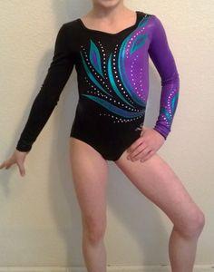 Competition Gymnastics Leotard Black Purple Teal Adult XS Child M | eBay