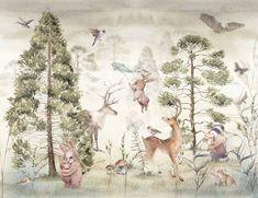 MIŁOLAS Botanical Wallpaper / Forest Animals Wallpaper / Tree | Etsy