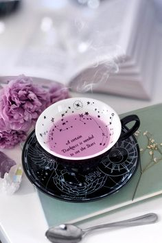 Regardless if you're a coffee fanatic, tea enthusiast or just addicted to hot cocoa - this delicate cup will ensure you always keep yer black soul content Tea Cup Saucer, Tea Cups, Bar Deco, Black Dishwasher, Design Set, Design Ideas, Ceramic Cups, Tea Time, Tea Party