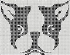 Boston Terrier Silhouette Small Cross Stitch Pattern 1 Color Easy PDF Pattern