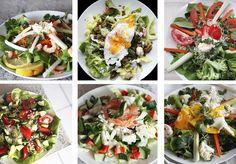 Yhden viikon ruokia... Monille salaatti on lisuke ja ateria kootaan perunan, pastan ja lihan ympärille. Ymmärrän tämän hyvin, jos on tottunut syömään lähinnä jäävuorisalaattia....