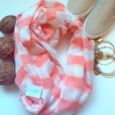 1 DAY SALEHOST PICK J.Crew scarf Such a fun piece to pair with jeans and a tank for the spring! Fringes at bottom with pinkish/orange stripes. Such a pretty piece. New with tags never worn. Made of polyester and acrylic. J. Crew Accessories Scarves & Wraps