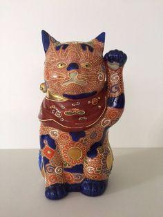 "Vintage Japanese Kutani Hand Painted Porcelain Cat Statue, 10"" Tall x 5"" Wide"