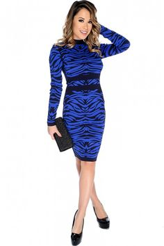 a73be897767 Sexy Royal Blue Black Long Sleeve Two Tone Bandage Party Dress