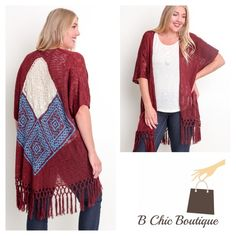 Plus Size Fringe Kimono Stunning wine color fringe cardigan great for any outfit. Made of cotton/ poly blend. BChic Boutique Sweaters Cardigans