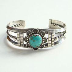 Southwestern Tribal Vintage Cuff Bracelet Sterling Silver Turquoise Boho Bohemian Gypsy Hippie by redroselady on Etsy