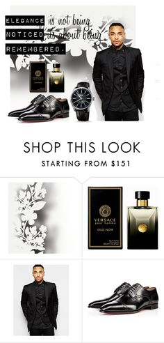 """""""Simple, Elegant, Correct."""" by fahira-1 ❤ liked on Polyvore featuring Élitis, Versace, Rogues of London, Christian Louboutin, Oris, men's fashion and menswear"""