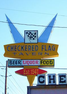 Checkered Flag Tavern Neon Sign, near Indianapolis on the National Road (route 40) by whflood, via Flickr
