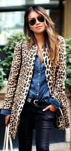 Street style animal printed coat, black pants.
