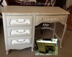 Painted french provincial desk with Shabby Paints Cali Taupe and Worn White. I love this furniture paint! #shabbypaints #calitaupe #furniturepaint
