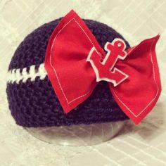 Crochet  Baby Navy & Coast Guard Sailor Bow by MyFairBabyonEtsy, $21.50