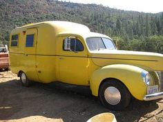 40 Ford truck with a Scamp fiberglass trailer grafted onto it.