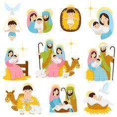 Nativity Scenes Set Semi Exclusive Clip Art Set For Digitizing and Nativity Scene Sets, Nativity Scenes, Church Banners, Topper, Christmas 2017, Sunday School, Religion, Clip Art, Christian