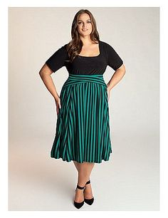 savvy striped flared skirt with criss-crossing at the waist by lane ...