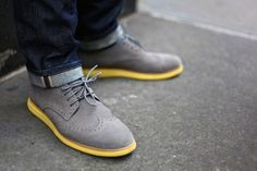 Add some color to your feet, updated Oxford Grey Suede paired up with a dark pair jeans look great
