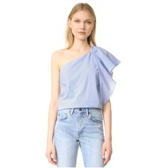 Cooper & Ella Livia One Shoulder Top ($115) ❤ liked on Polyvore featuring tops, baby blue, polka dot shirt, blue striped shirt, polka dot top, drape top and flutter-sleeve top