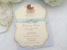 Carriage Invitations Boy Baby Shower by SeasonalDelightsBaby