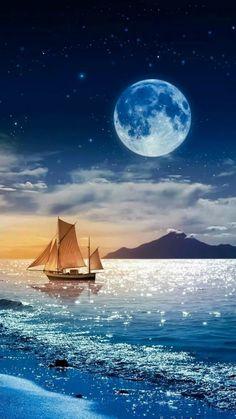 Boat in moonlight Beautiful Nature Wallpaper, Beautiful Moon, Beautiful Landscapes, Beautiful Places, Beautiful Pictures, Moon Photography, Photography Awards, Photography Business, Street Photography
