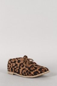 Toby-01 Leopard Round Toe Lace Up Oxford Flat