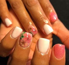In love with my nails! Dried flower inlays ring fingers. Rest of the nails are white acrylic and pink glitter acrylic.