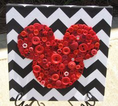 10x10 Red Button Mickey Mouse Art Picture on Black Chevron Fabric on Etsy, $25.00