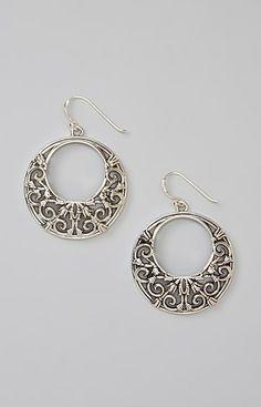 Sterling Silver Arabesque Drop Earrings. I love hoops