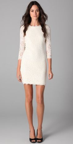 Classic white lace dress, good option for a rehearsal.