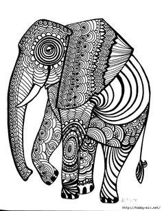 Elephant Coloring pages colouring adult detailed advanced printable Kleuren voor volwassenen coloriage pour adulte anti-stress