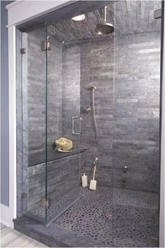 45 ideas for bathroom remodel tile walls pebble floor Modern Shower, Modern Bathroom, Bathroom Ideas, Bathroom Showers, Master Bathroom, Bathroom Remodeling, Shower Ideas, Bathroom Renos, Bathroom Gray