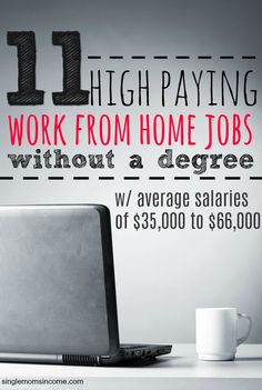 No degree? No problem. Here are eleven high paying work from home jobs without a degree. Pay ranges for these jobs are $36,000 to $66,000. (You'll make even more if you're above average.) #workfromhomejobs #sidehustle #wah #extramoney