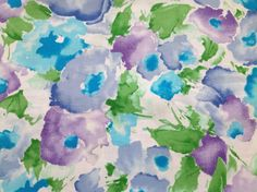 Floral Fabric Vintage Blue Purple Flowers Floral by PeppersHouse Blue And Purple Flowers, Hopscotch, New Crafts, Floral Fabric, Pansies, Etsy Store, Craft Supplies, Unique Jewelry, Handmade Gifts