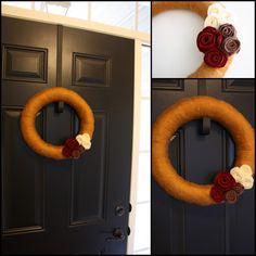 yarn + felt flower wreath - Life On Virginia Street