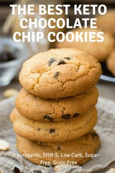 These are the Best Keto Chocolate Chip Cookies in the world! Not only are they awesome they are ketogenic low carb a THM:S fuel sugar free and grain free! Keto Desserts, Keto Friendly Desserts, Keto Snacks, Dessert Recipes, Holiday Desserts, Easy Keto Dessert, Stevia Desserts, Keto Foods, Dinner Recipes